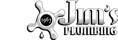Turn to us to handle your needs Jim's Plumbing white logo text with white 1967 text in the middle of a faucet handle